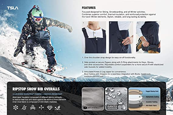 TSLA Mens Snow Bib Windproof Ski Insulated Water-Repel Rip-Stop Overalls