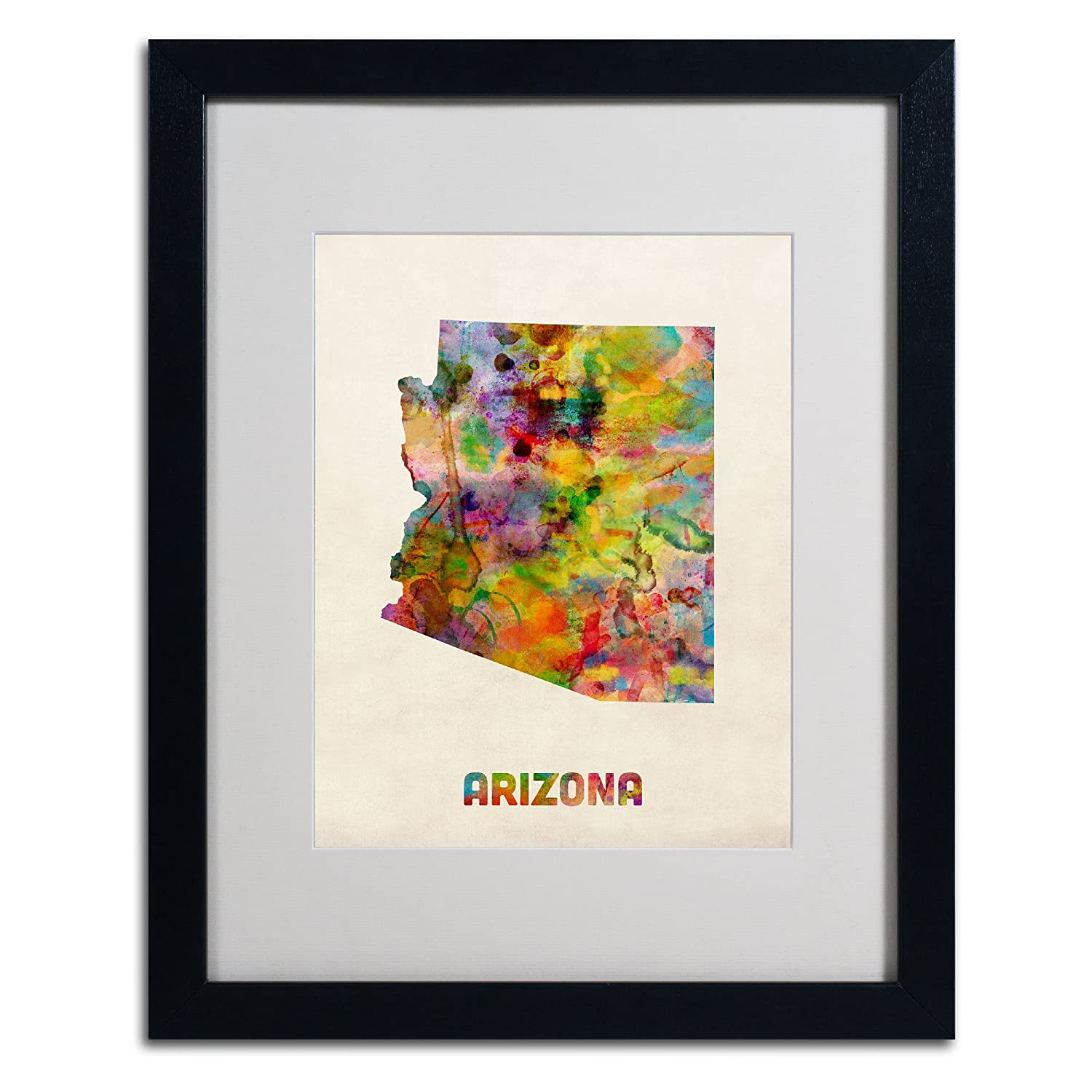 Amazon.com: Trademark Fine Art Arizona Map Matted Framed Art by ...