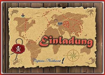 Set Einladung Kindergeburtstag Einladungskarten Schatzsuche Geocaching  Schatzkarte Pirat   12 Stück