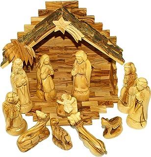 Amazoncom Deluxe Olive Wood Nativity Set Hand Carved In Bethlehem