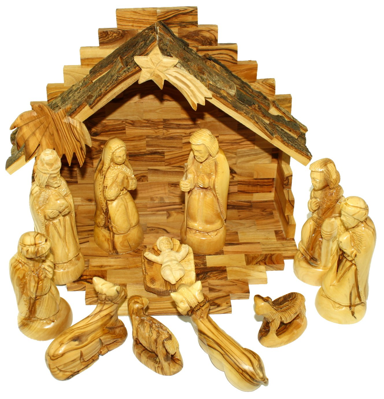 Holy Land Market Olive Wood Nativity Set - Traditional Carving