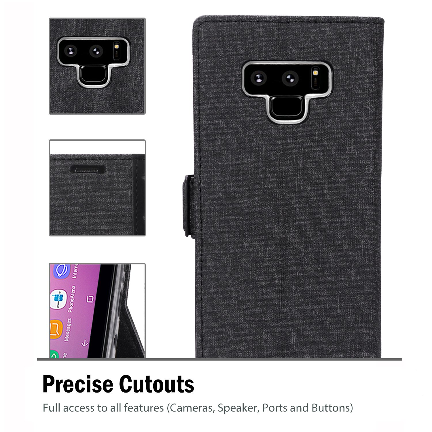 Black ProCase Folio Folding Wallet Case Flip Cover Protective Case for Galaxy Note 8 2017 Release Samsung Galaxy Note 8 Wallet Case with Card Slots and Kickstand