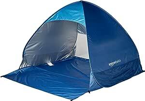 Amazon Basics Pop-up Beach Tent Sun Shade Shelter - 65 x 58.9 x 43.5 Inches, Blue