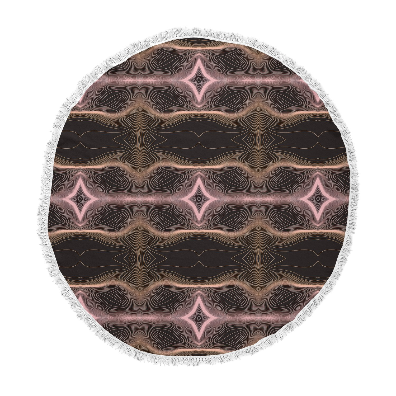 Kess InHouse Pia Schneider Hazelnut Pale Line Vibes Brown Lavender Digital Round Beach Towel Blanket