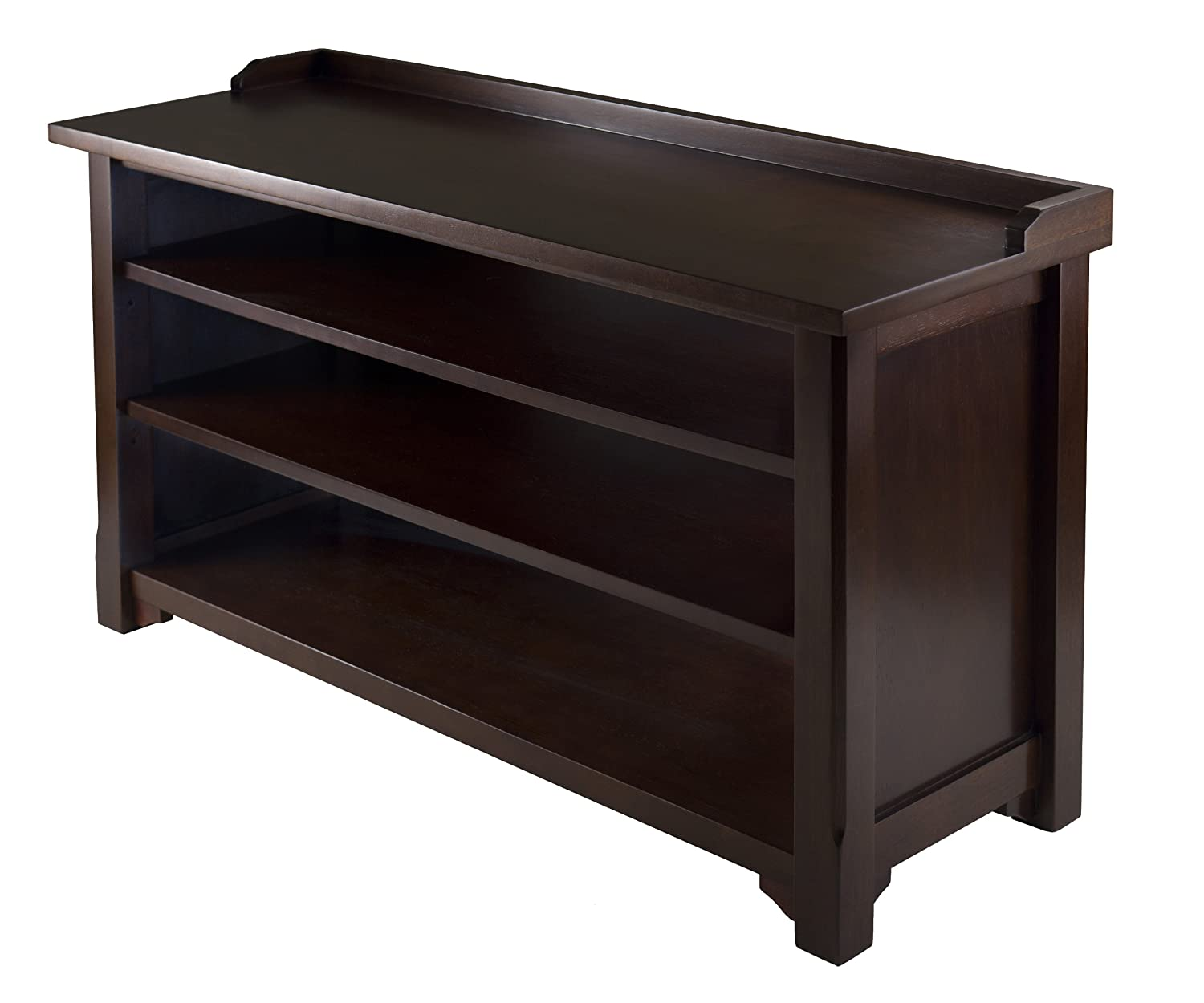 Espresso Foyer Bench : Amazon winsome dayton storage hall bench with shelves