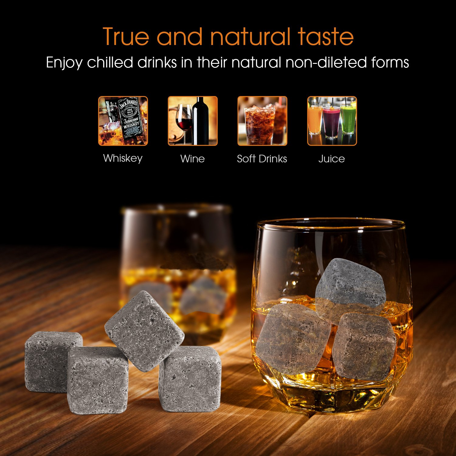 SAVFY/® 9 PCS Whisky Chilling Rocks Ice Stones Drinks Cooler Cubes Whiskey Scotch on the Rocks Granite with a Muslin Pouch