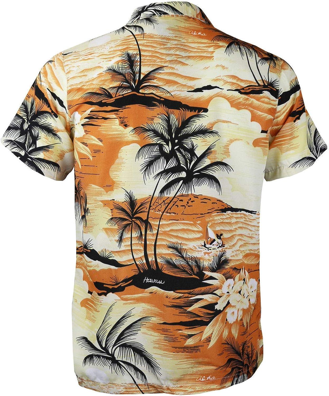 Mens Hawaiian Tropical Luau Aloha Beach Party Button Up Casual Dress Shirt