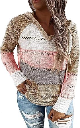 BUOYDM Mujer Sudadera V Cuello Cárdigan de Punto Casual Camisetas de Manga Larga Jersey Otoño e Invierno Casual Blusas