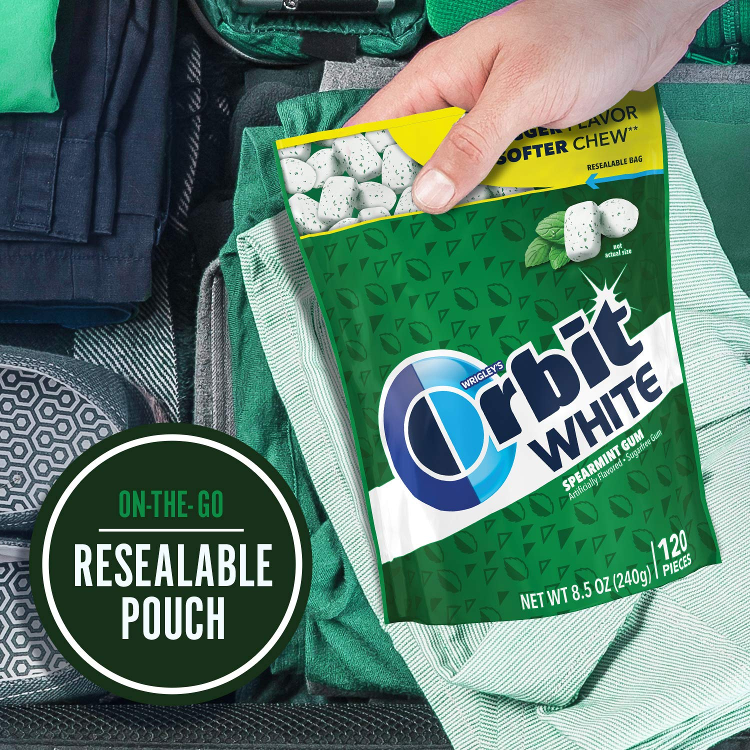 ORBIT Gum WHITE Spearmint Sugarfree Chewing Gum, 8.5 Ounces Resealable Bag, 120 Pieces (Pack of 8) by Orbit Gum (Image #5)