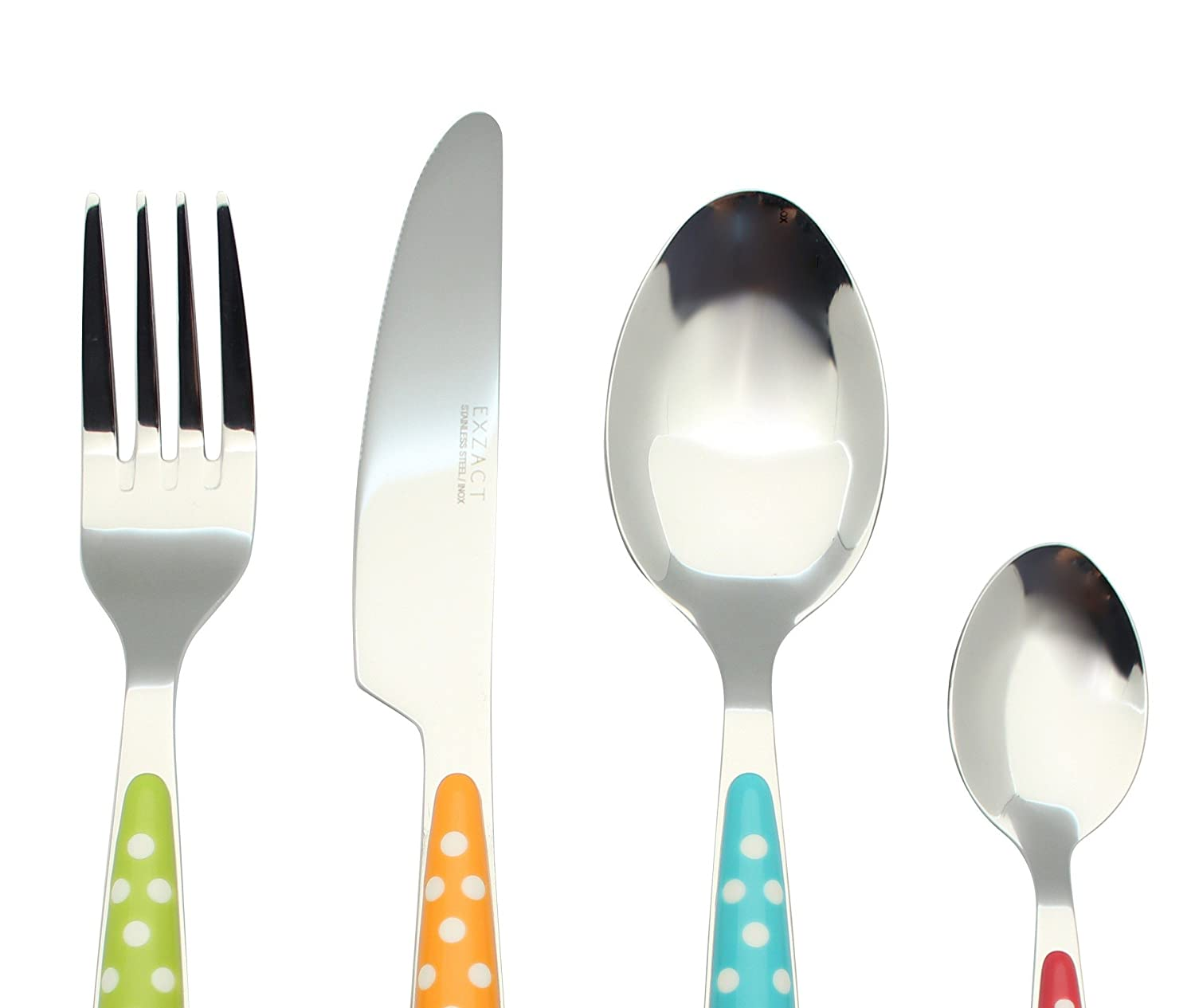 4 Dinner Spoons 4 Teaspoons 4 Dinner Knives Black x 16 EXZACT Cutlery Set of 16 stainless steel with color handles 4 Forks EX07