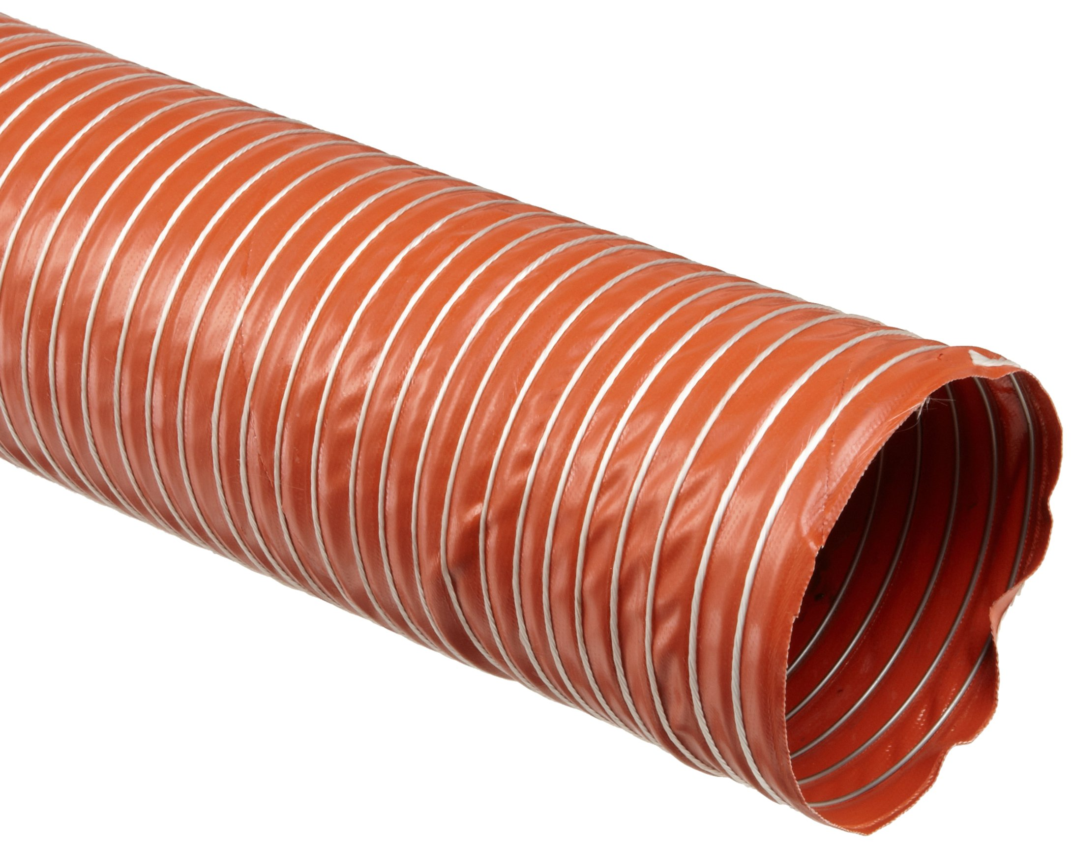 Heat-Flex BDS Fiberglass Duct Hose, Iron Oxide Red, 10'' ID, 12' Length by Flexaust (Image #1)