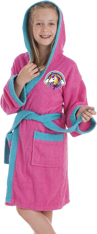 Secaneta Albornoz Infantil para niña, Bata de baño Chica con Dibujos Bordados, Unicornio años / 14 Years Old, Multicolor