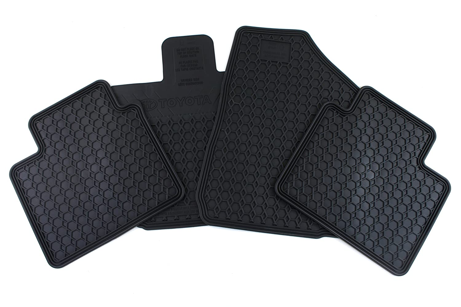 Set of 4 Black Genuine Toyota Accessories PU320-0T009-02 Front and Rear All-Weather Floor Mat