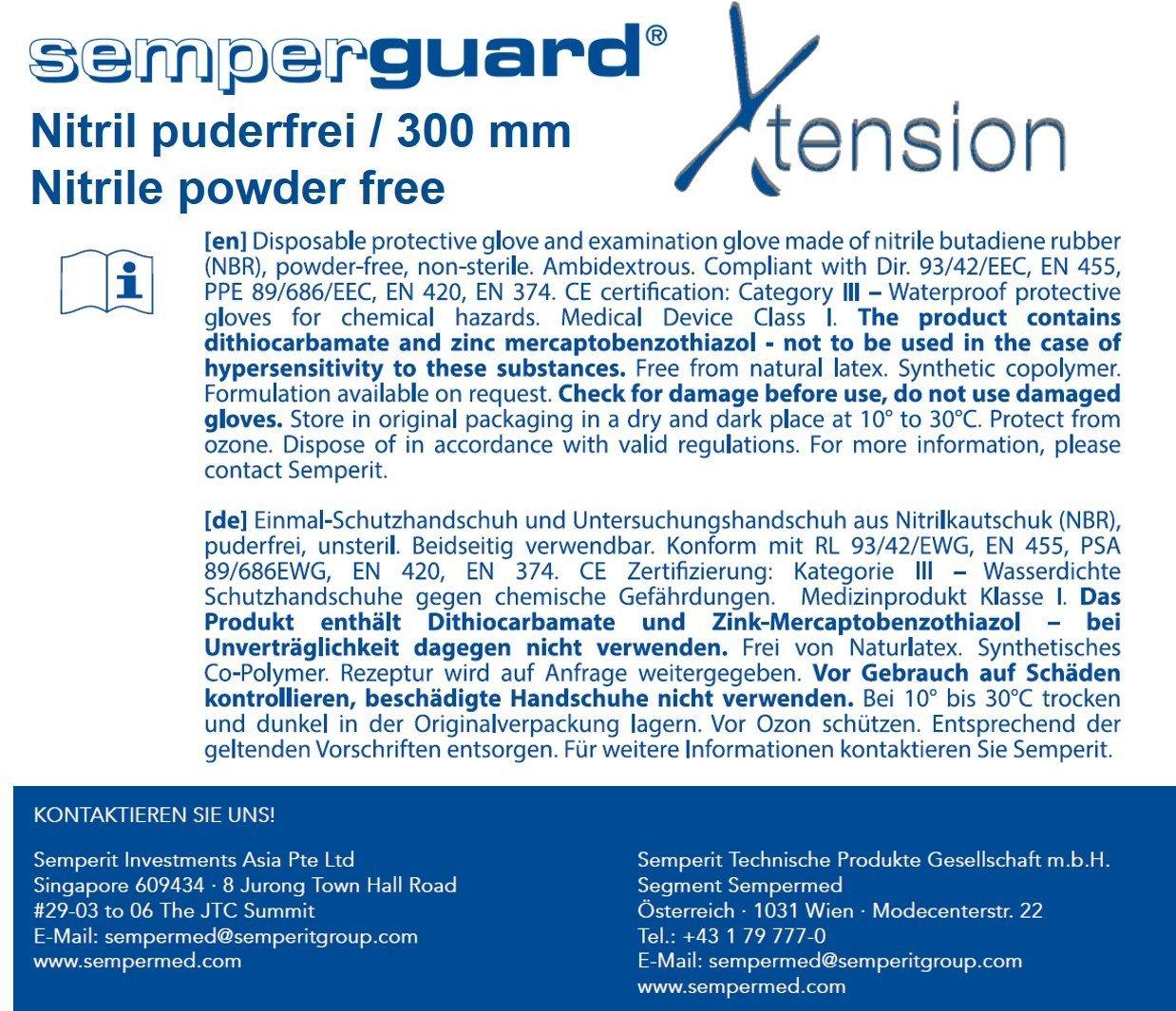 sin talco 8/ Semperguard uard 3000004102/Xtension extra larga einmalschutz y guantes desechables de nitrilo l/átex /9 color azul 100/unidades tama/ño L