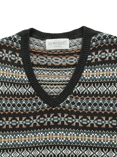 Cotton Fair Isle V-neck Sweater Vest 1118-343-0366: Grey