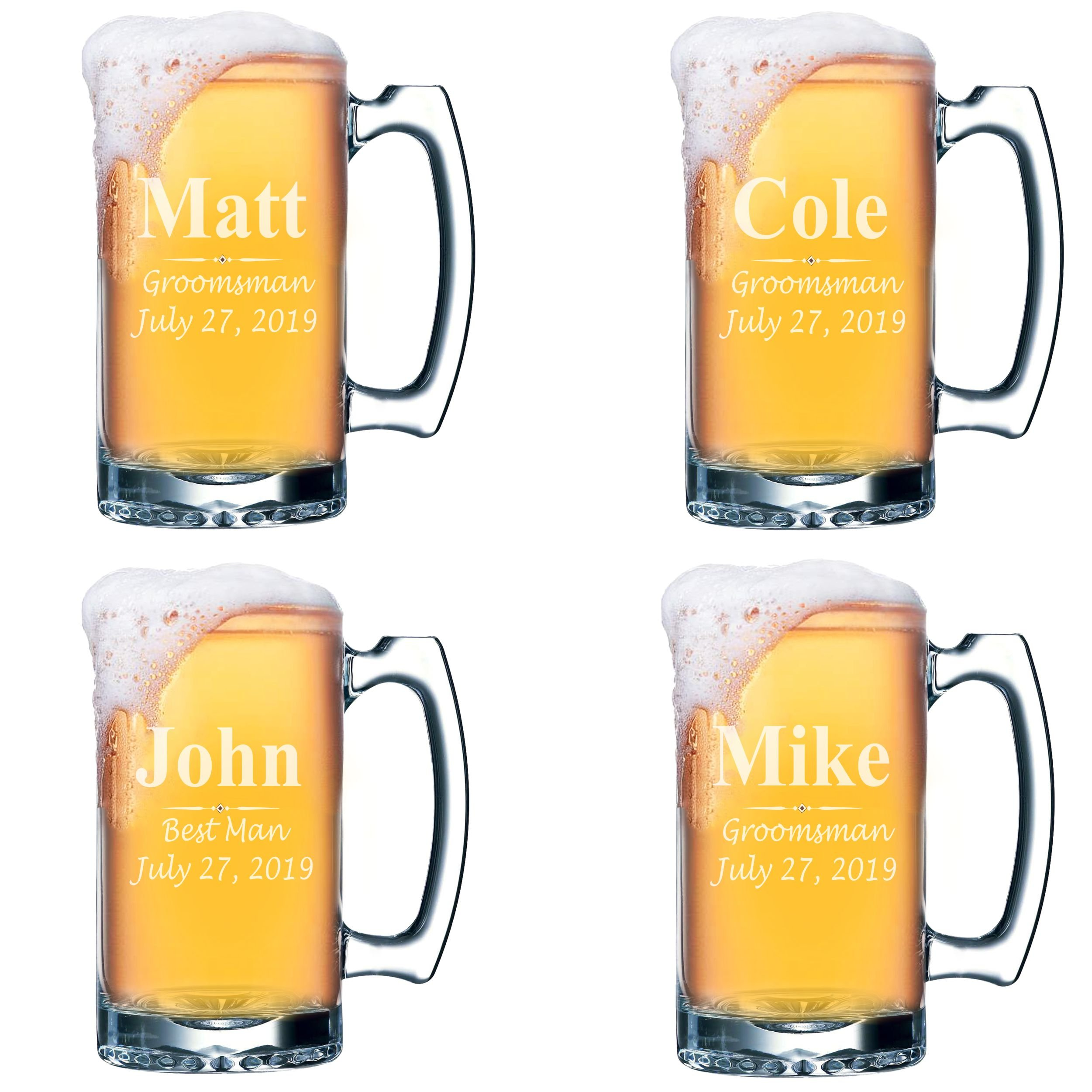 Set of 4, Set of 8 and more Custom Engraved Groomsmen 16 oz Beer Mugs - Personalized Wedding Party Gifts - 3 Lines Style (4)
