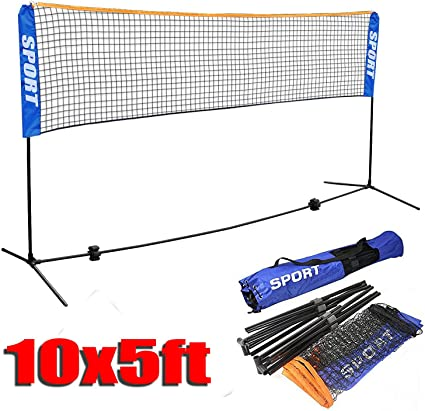 Yaheetech 16 ft Portable Badminton//Tennis//Volley Net Set Adjustable Height Poles Frame Stand Indoor//Outdoor Professional Sports Training Net with Carry Bag