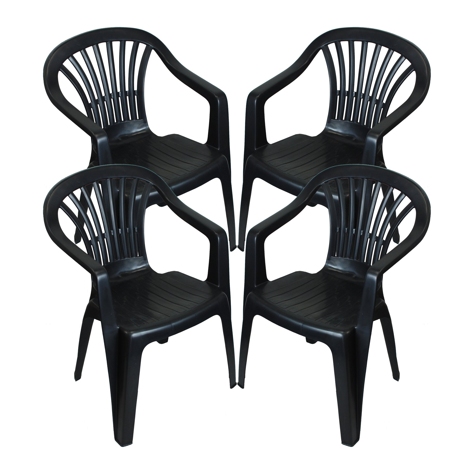 CrazyGadget Plastic Garden Low Back Chair Stackable Patio Outdoor Party  Seat Chairs Picnic Grey Pack of 8 (X8)
