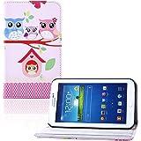 tinxi Kunstleder Tasche für Samsung Galaxy Tab 3 - 8.0, 8 zoll (20.32cm), Eulen Familie