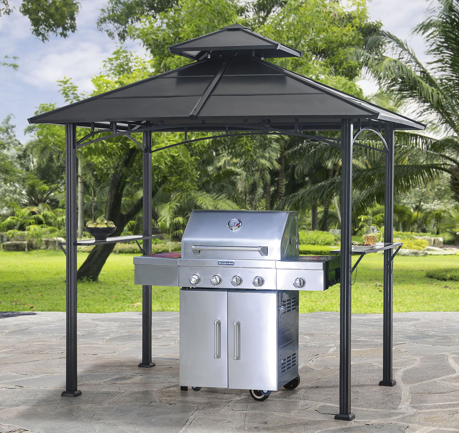 roof enjoy bbq grill outdoor awning gazebo