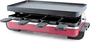 Swissmar Classic 8 Person Red Raclette with Cast Aluminum Grill Plate
