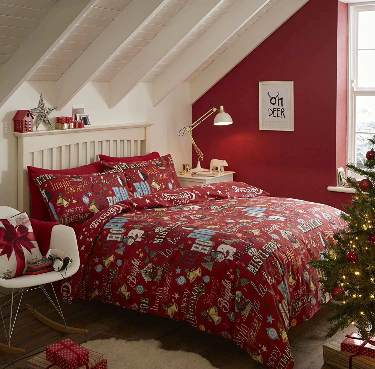 Catherine Lansfield Brushed Happy Christmas Double Duvet Set - Red Turner Bianca BD/45352/W/DQS/RE