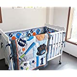 F.C.L 8 Pieces Baby Boy Sport Crib Bedding Set (Blue): (1)quilt,(4)bumper pads,(1) fitted sheet,(1) dust ruffle(skirt),(1) fleece blanket