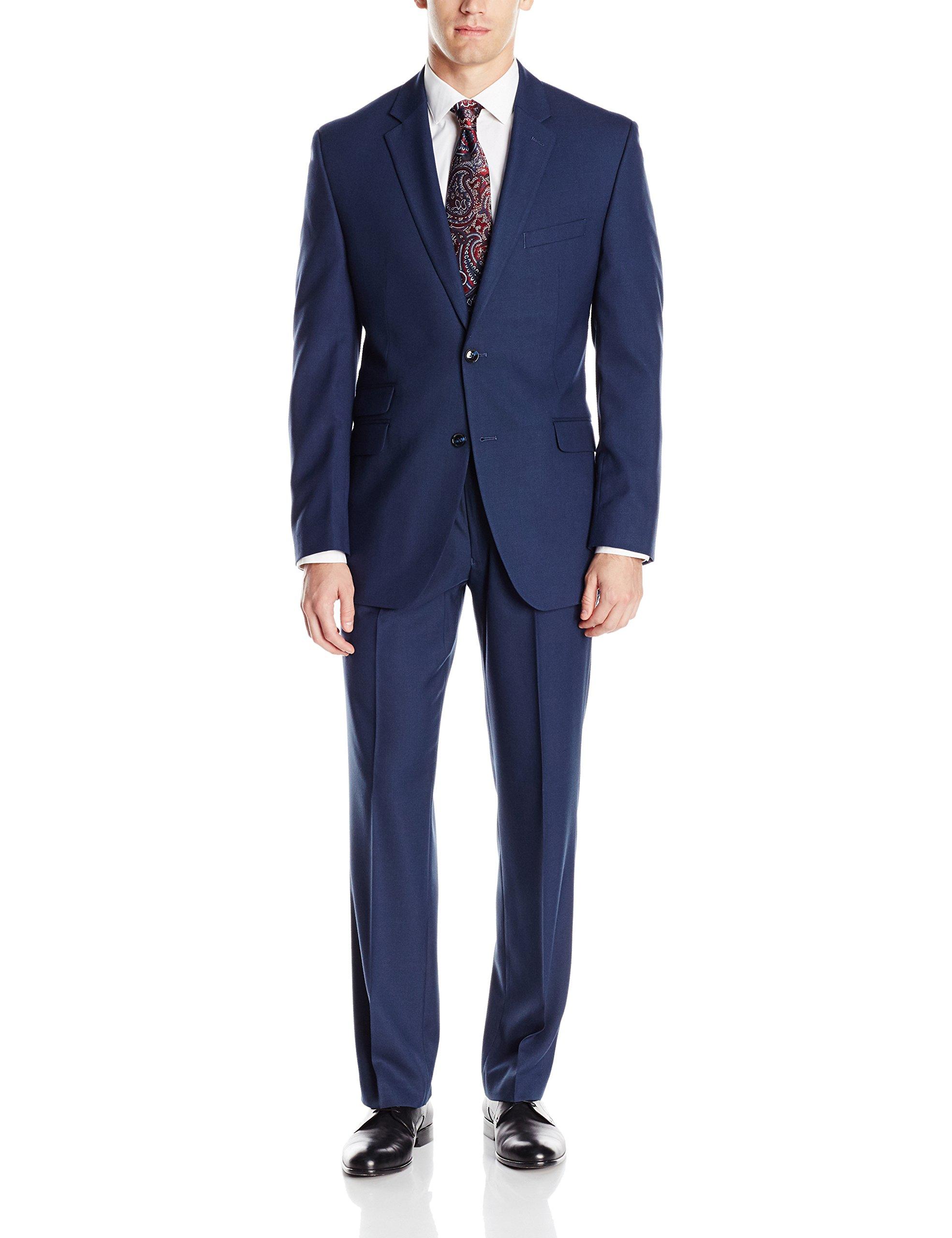 Perry Ellis Men's Slim Fit Suit With Hemmed Pant, Blue, 38 Short by Perry Ellis