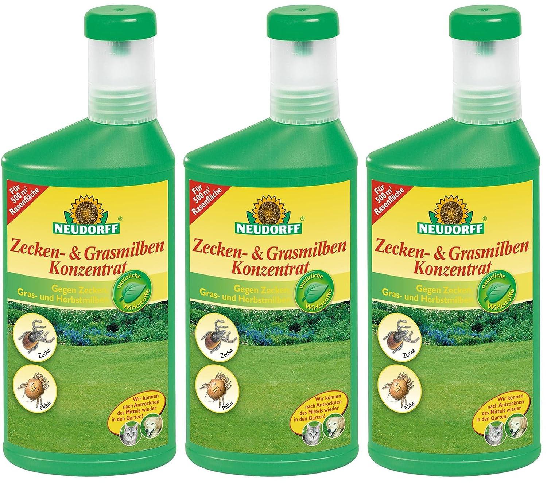 GARDOPIA Sparpaket: 3 x 500 ml Neudorff Zecken- & GrasmilbenKonzentrat + Gardopia Zeckenzange mit Lupe