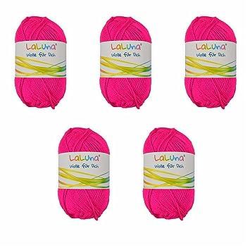 5er Pack Uni Wolle Neon Pink 100 Polyacryl Wolle 250g Garn Zum