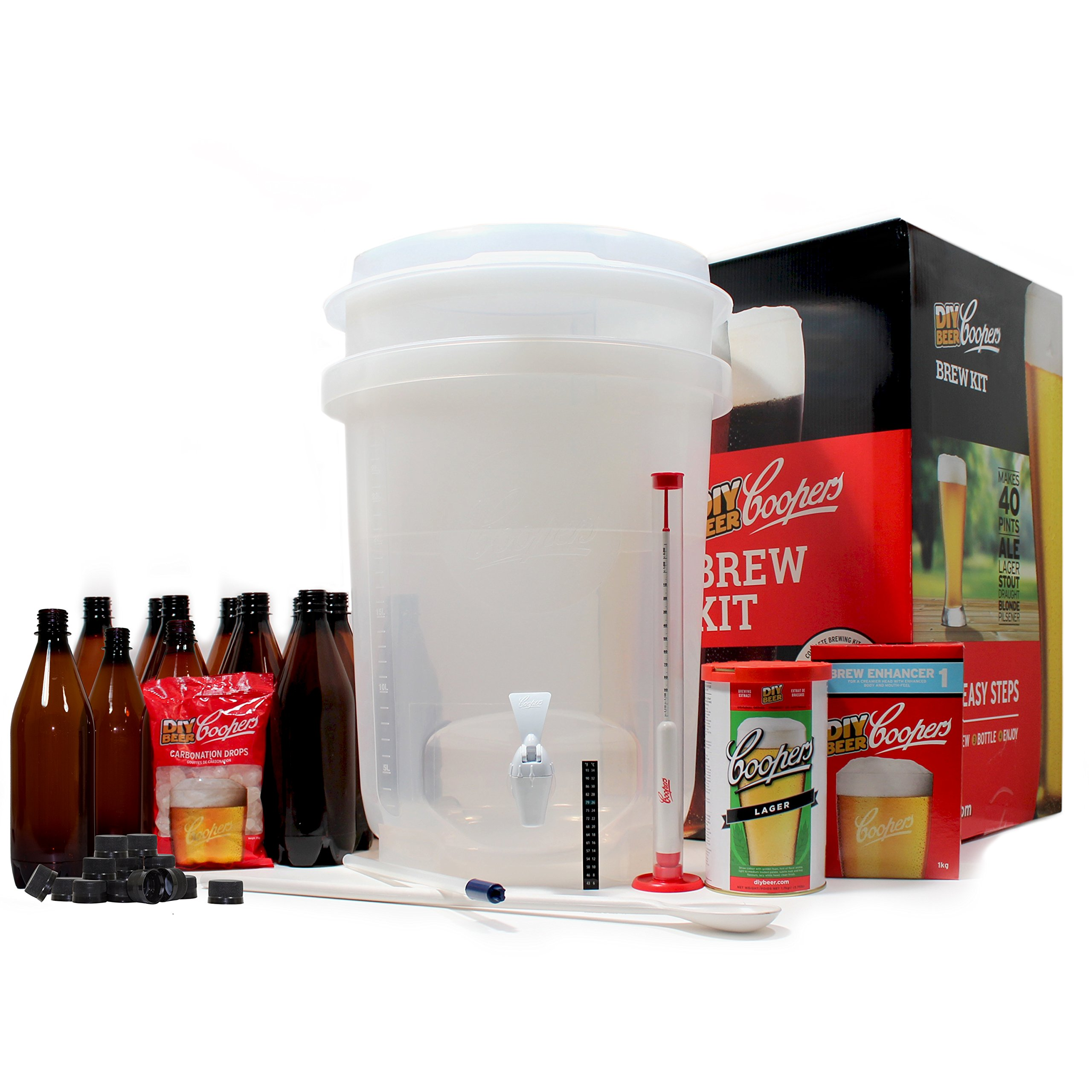 Coopers DIY Beer Home Brewing 6 Gallon All Inclusive Craft Beer Making Kit with Patented Brewing Fermenter, Beer Hydrometer, Brewing Ingredients, Bottles and Brewing Accessories by Coopers