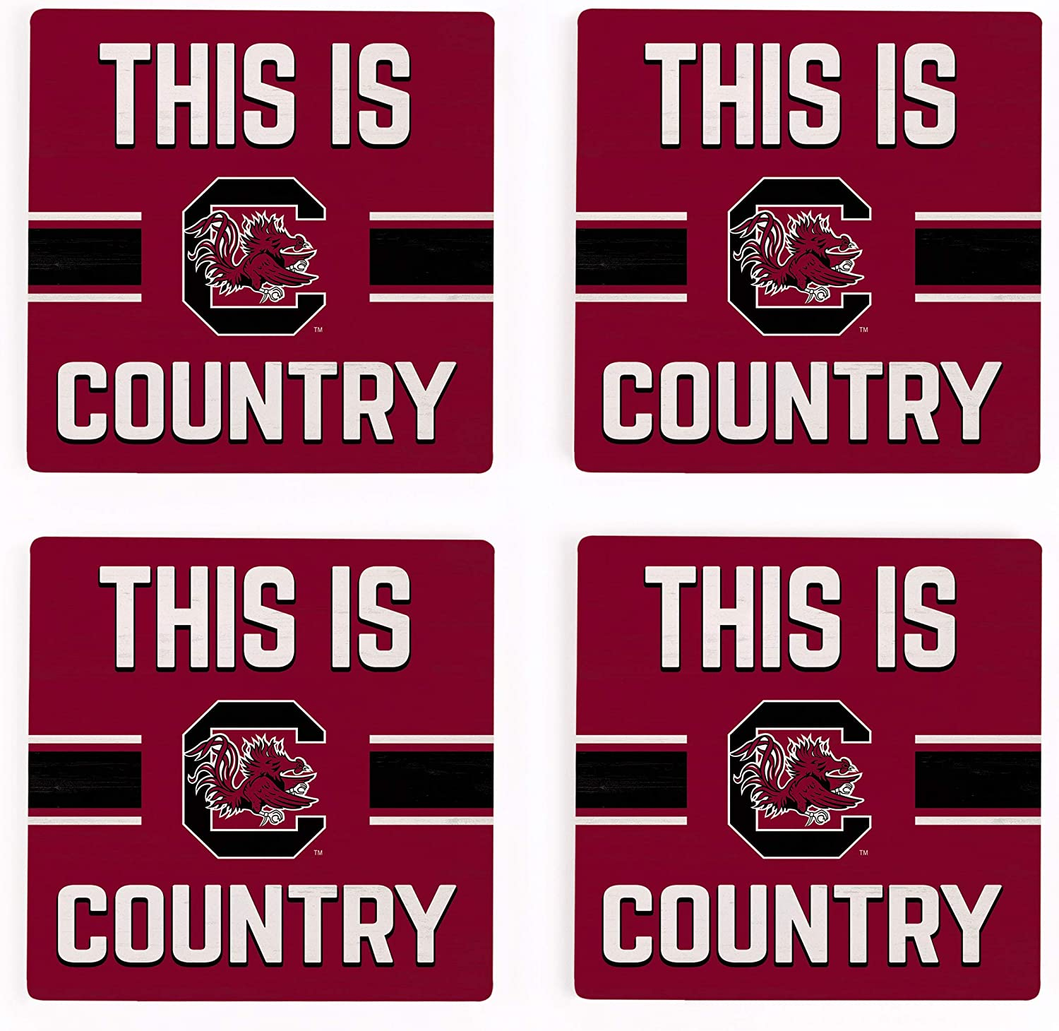 This is University of South Carolina NCAA 4 x 4 Absorbent Ceramic Coasters Pack of 4