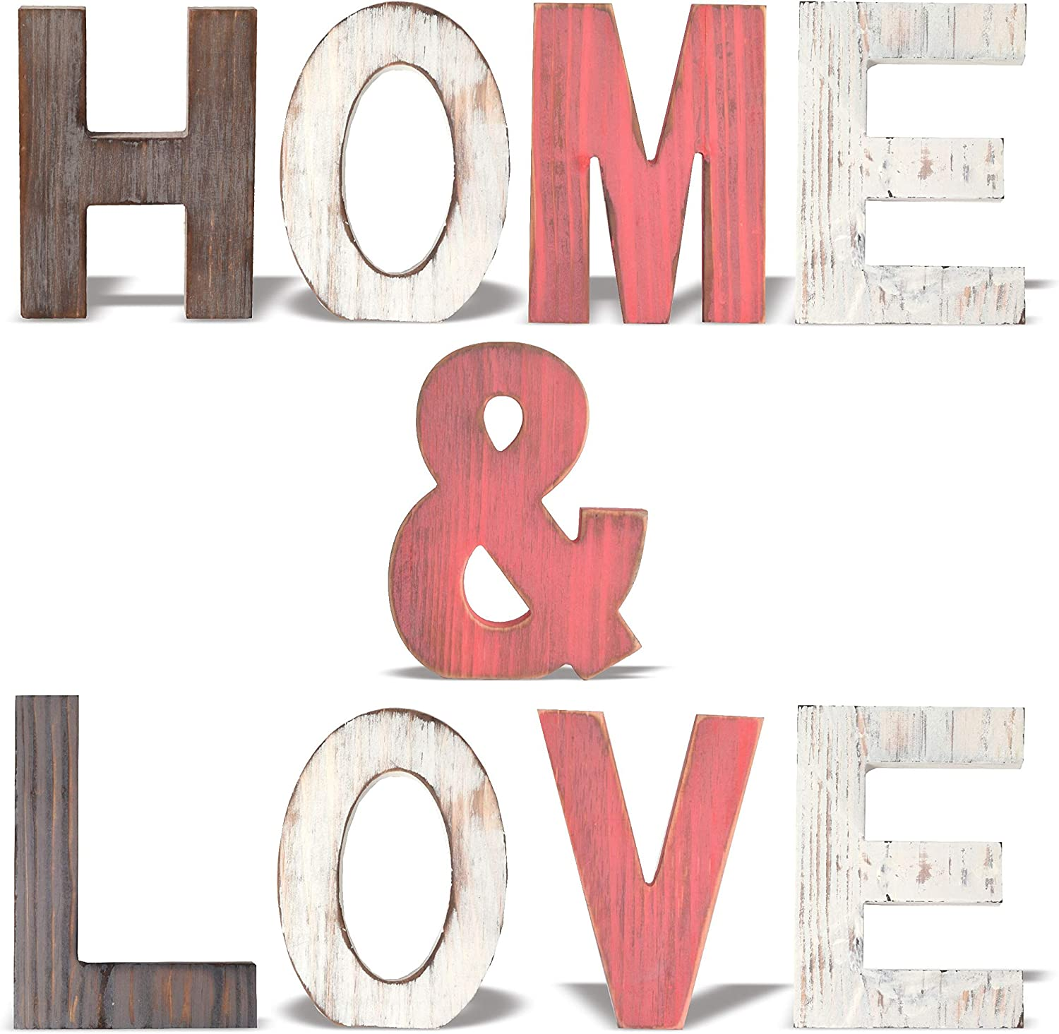MEANT2TOBE Rustic Wood Home & Love Signs Home Décor |Freestanding Wooden Letters Cutouts for Home Décor|Multi-Color Wooden Signs |Decorative Word Signs|Multicolor Table Decor Centerpiece| (Red)