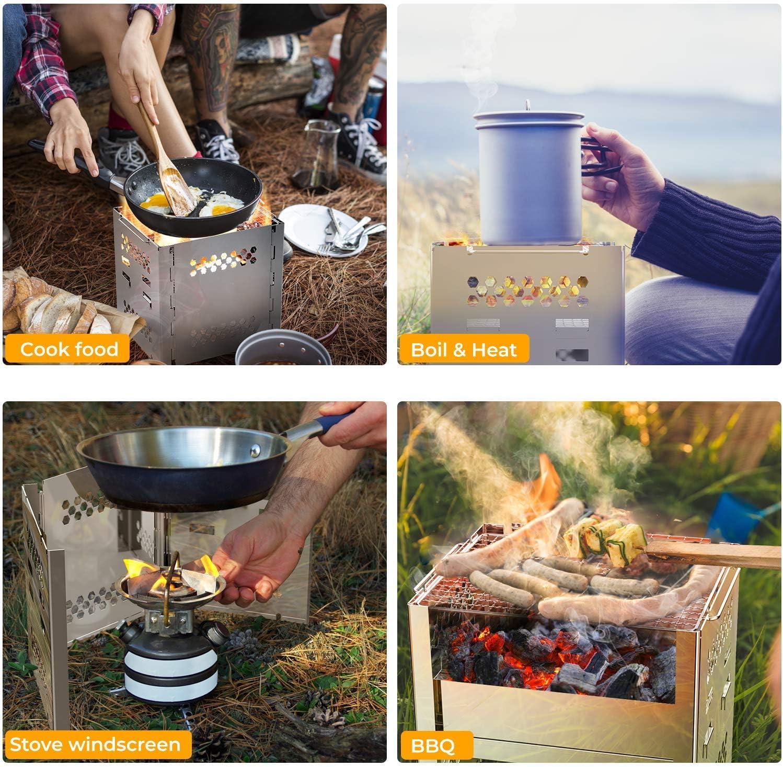 port/átil y con Bolsa de Almacenamiento barbacoas picnics Apta para Senderismo al Aire Libre Plegable etc/… Ohuhu Estufa de Camping Estufa de le/ña Ideal para Acampar