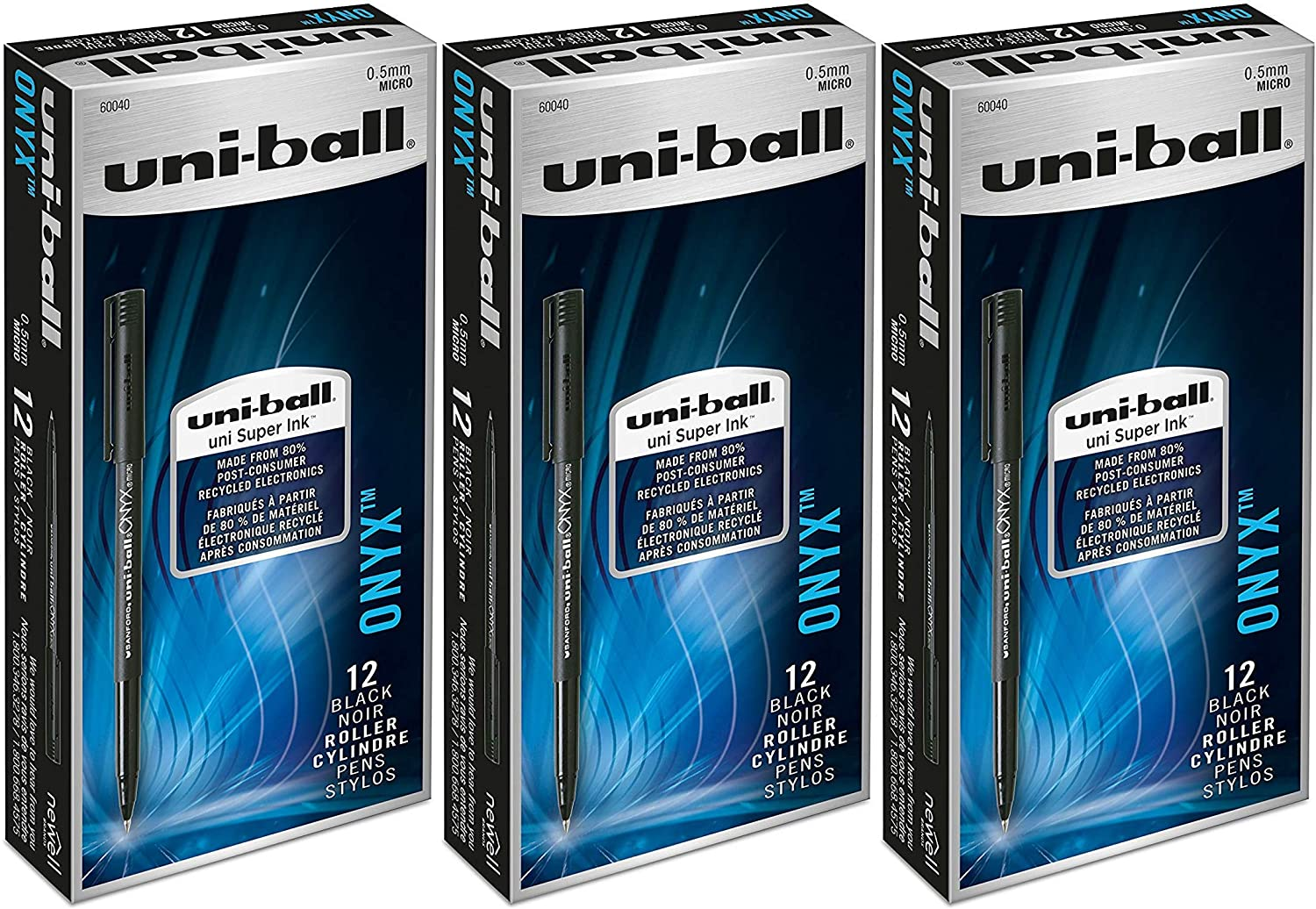 4 Pack of 12 Black uni-ball ONYX Rollerball Pen 0.5mm Micro Point