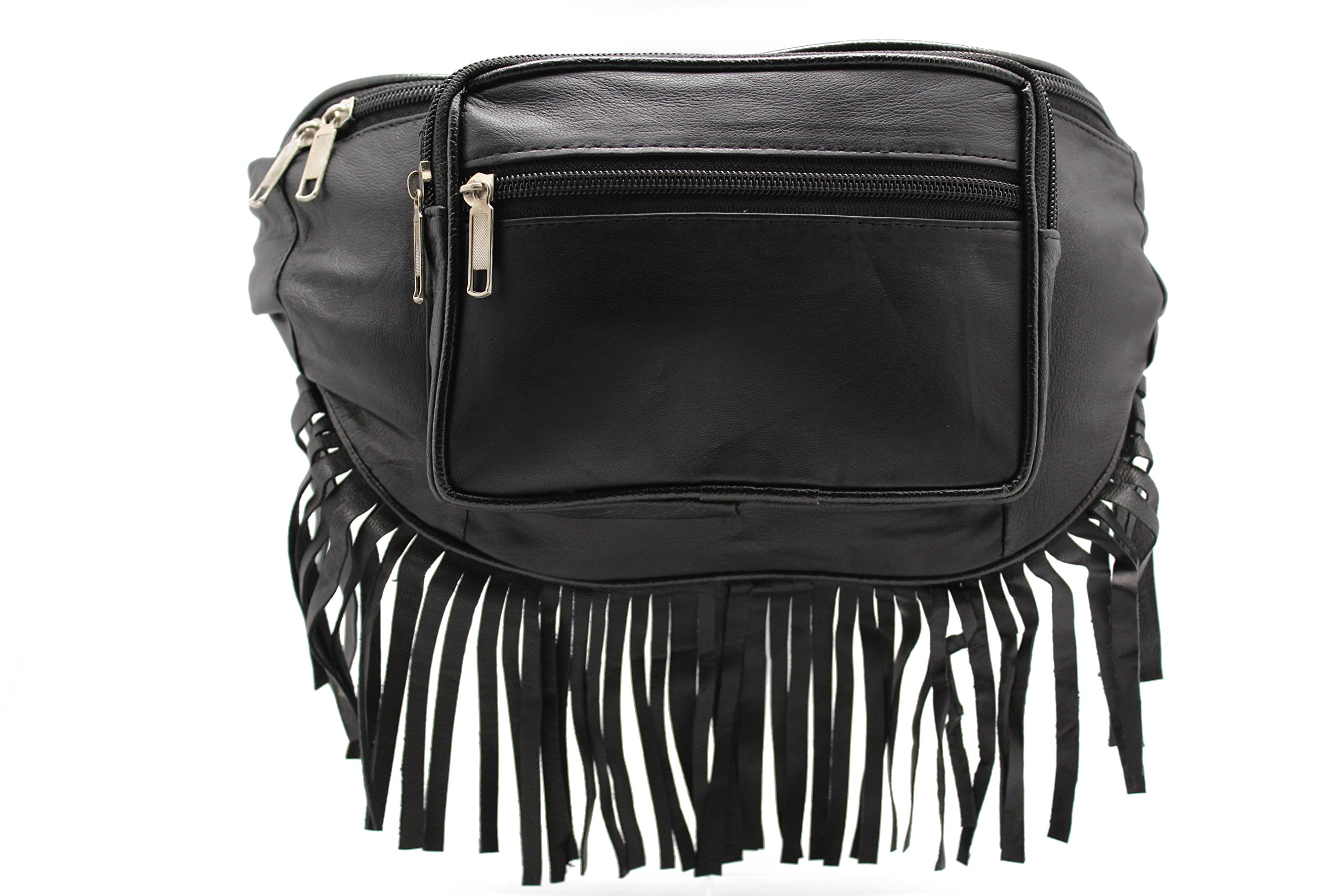 Genuine Leather Music Festival Fur Boho Red Indians Fringe Fanny Pack/Hip Pouch (JTC-51605) by Juzar Tapal Collection