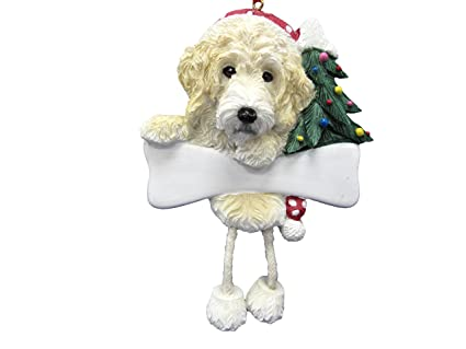 """Labradoodle Ornament with Unique """"Dangling Legs"""" Hand Painted and  Easily Personalized Christmas Ornament - Amazon.com: Labradoodle Ornament With Unique"""