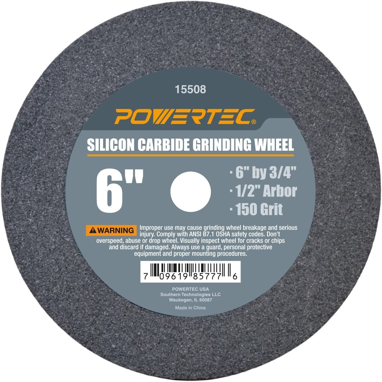 POWERTEC 15508 Silicon Carbide Grinding Wheel 6-Inch by 3//4-Inch
