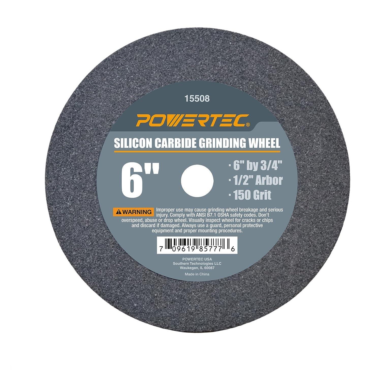 POWERTEC 15508 1/2 Arbor 150-Grit Silicon Carbide Grinding Wheel, 6' x 3/4 6 x 3/4