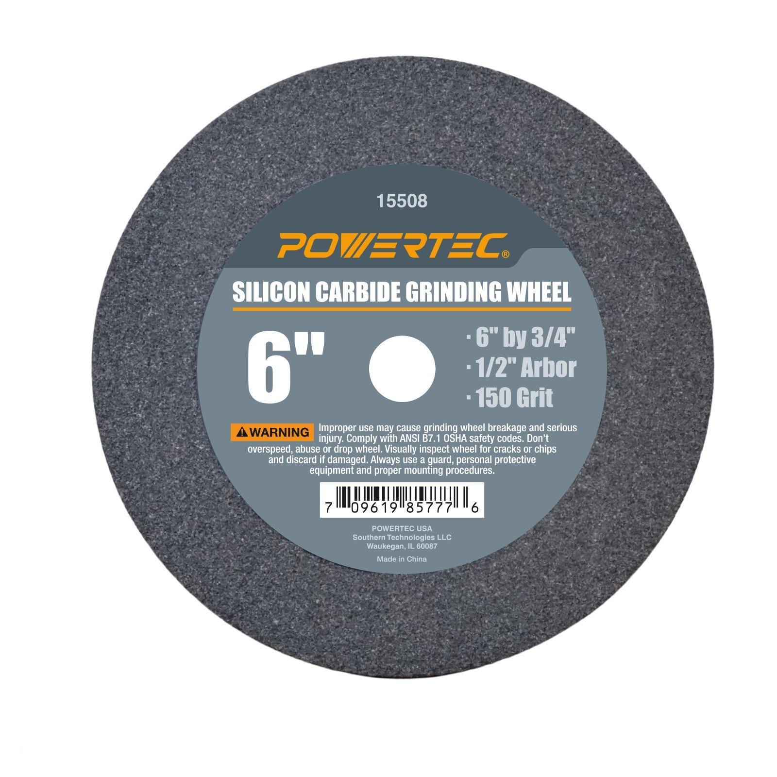 POWERTEC 15508 1/2'' Arbor 150-Grit Silicon Carbide Grinding Wheel, 6'' x 3/4''