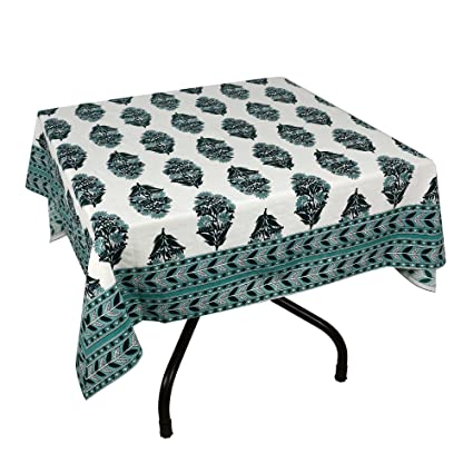Tablecloth Blue Green Cotton Square 54x54 inches Floral Handsome <span at amazon
