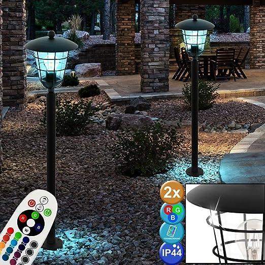 Juego de 2 faroles LED RGB para exterior, lámpara de esteatita para jardín, jaula de pie, color negro, regulables: Amazon.es: Iluminación
