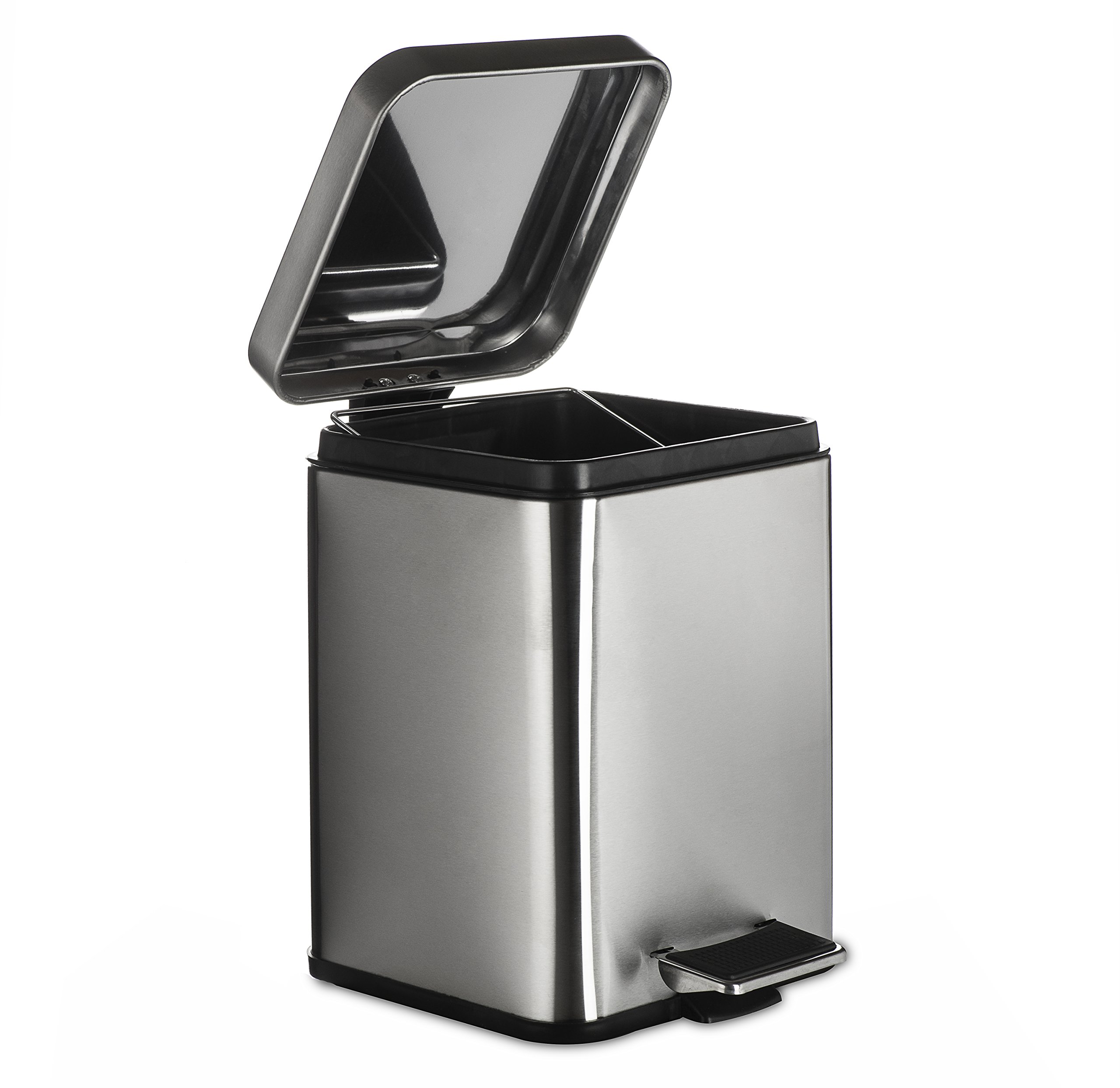 AMG and Enchante Accessories, Rectangular Waste Bin, 5L Garbage Trash Can with Step Foot Pedal, WB05B BNI, Brushed Nickel