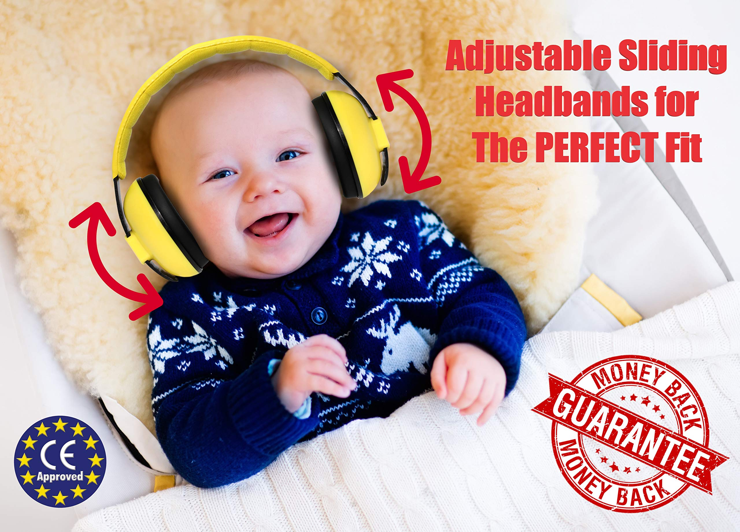 Noise Cancelling Baby Ear Protection Baby Earmuffs ~ Protect Infants and Kids Hearing with Safe, Sound Proof Ear Muffs ~ Comfort Fit + Bonus Travel Bag and Stickers by ROMS Baby (Yellow)