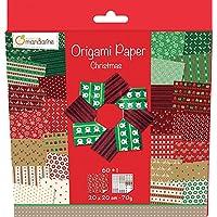 Avenue Mandarine 52508O Une pochette Origami Paper Christmas - 20 x 20 cm - 60 Feuilles - 70 g