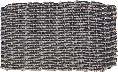 ColorWave Nautical Rope Doormat, Handwoven, Weather-Resistant Lobster Rope Welcome Mat 24 x 38, Navy Blue Warm Sand