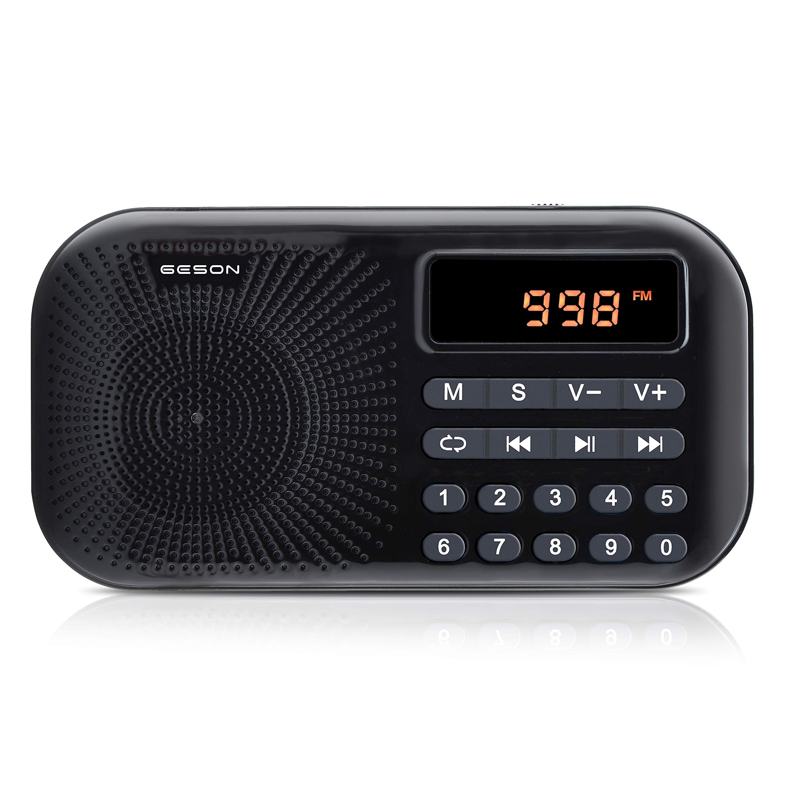 Portable AM FM Radio, Geson Mini Music Radio Player Support Micro SD Card/USB Disk with LED Screen Display(Black)