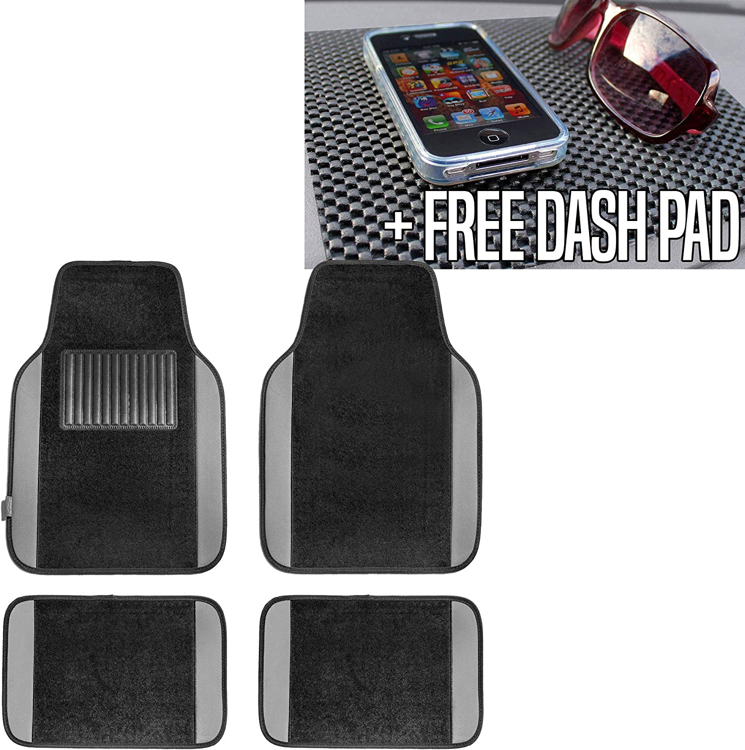 TLH Carpet Floor Mats with Colored Trim, Gray Color w/Black Dash Pad