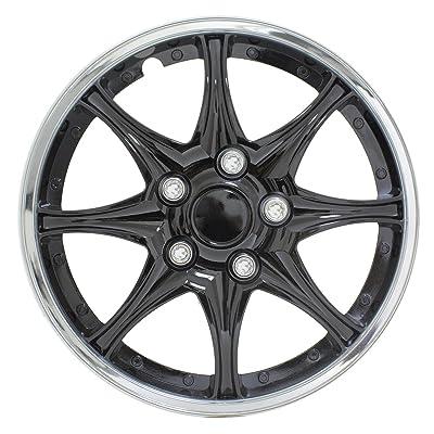 """Pilot Automotive WH522-14C-B Black and Chrome 14"""" Wheel Cover, (Set of 4): Automotive"""