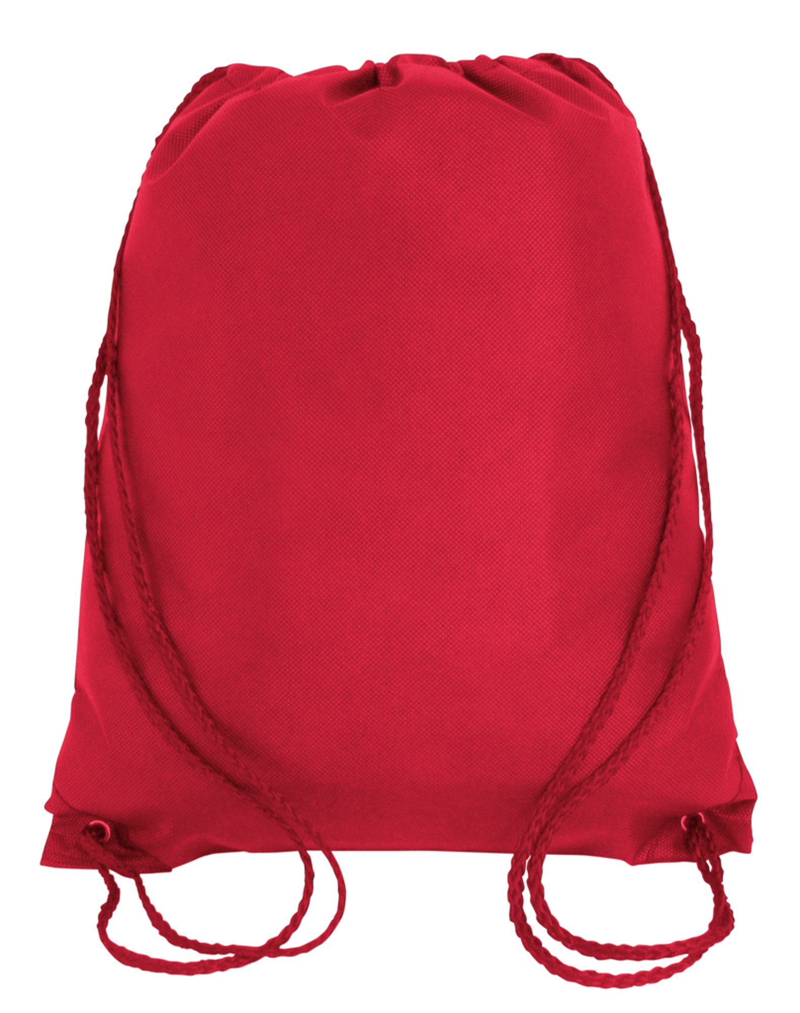 100 PACK - Multipurpose Non Woven Well Made Drawstring Backpack Bags BULK - Giveaway Church Bags School Bags Event Tradeshow bags Charity Donation Wholesale Cheap Drawstring Backpacks (Red)